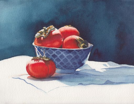 Original watercolor painting of persimmons in a blue bowl by Maui artist Christine Waara