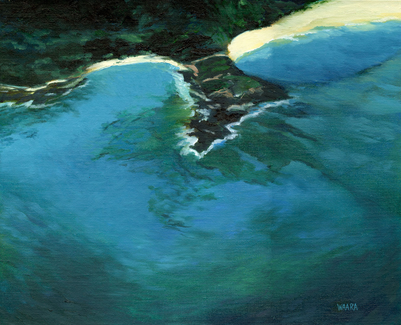 Original oil painting of an aerial view of a great snorkeling spot in Makena by Maui artist Christine Waara