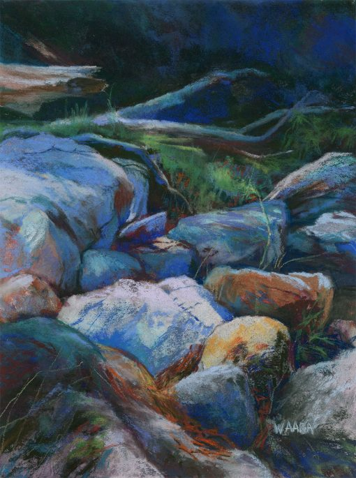 """Dry Riverbed "" original pastel painting by Maui artist Christine Waara"