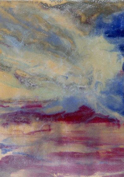 Encaustic monoprint abstract landscape by Maui artist Christine Waara