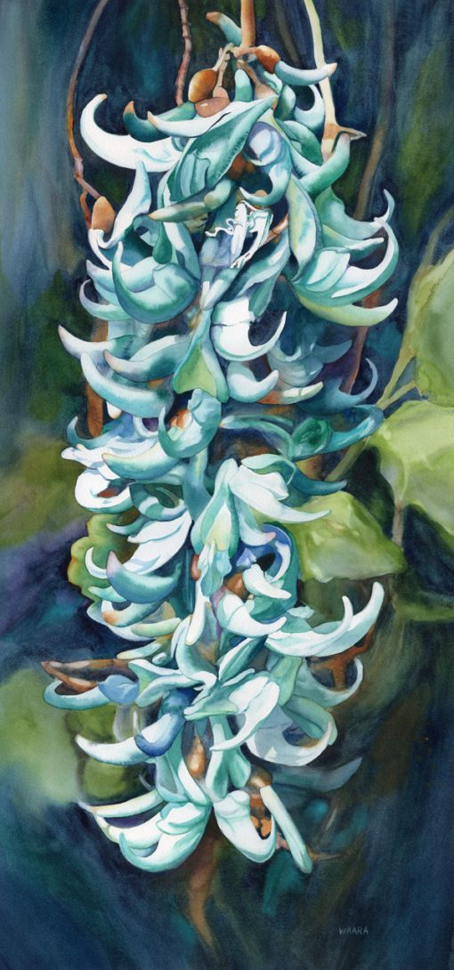 """Jade in Bloom"" original watercolor painting by Maui artist Christine Waara"