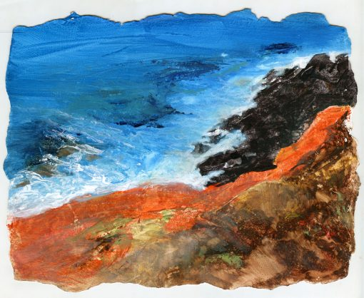 """Maui Glow"" original acrylic painting of a Maui sea cliffs by Maui artist Christine Waara"