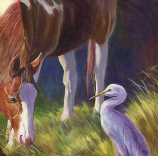 """""""Meeting at Eye Level"""" original oil painting of a horse and egret seeing eye to eye by Maui artist Christine Waara"""