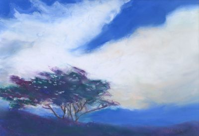 """Serenade in Blue"" original oil pastel painting by Maui artist Christine Waara"