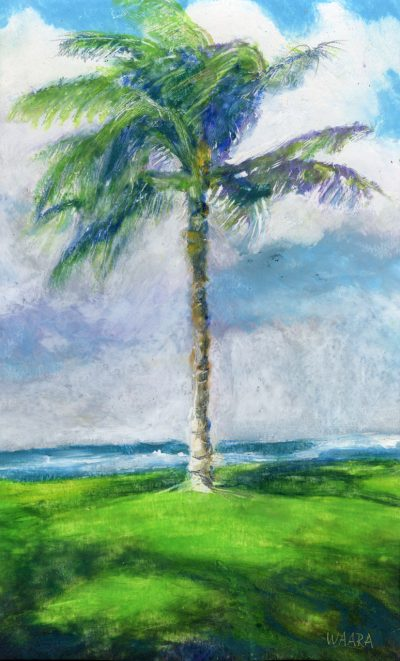 """Single and Proud"" original oil pastel painting of a lone palm tree by Maui artist Christine Waara"