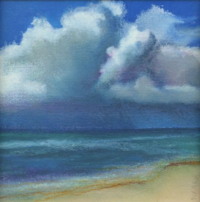 """Storm Over the Horizon"" original oil pastel painting by Maui artist Christine Waara"