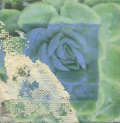 """Subdued Succulent"" abstract encaustic painting by Maui artist Christine Waara"