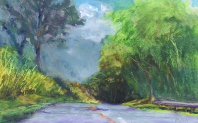 """The View Down Baldwin Avenue"" original oil pastel painting by Maui artist Christine Waara"