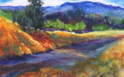 """Upcountry's Golden Hour"" original oil pastel painting by Maui artist Christine Waara"