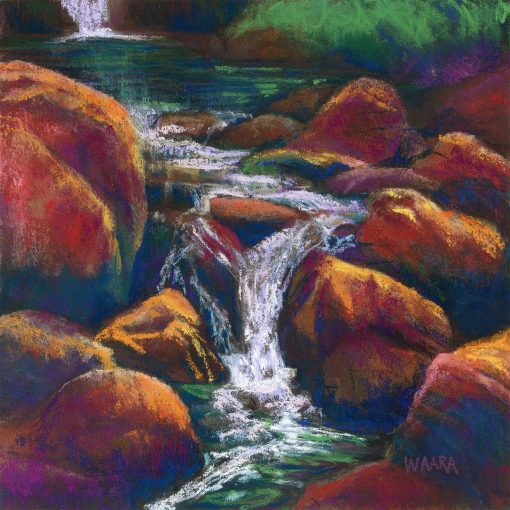 """Vivid Waterfall Memories"" original pastel painting by Maui artist Christine Waara"